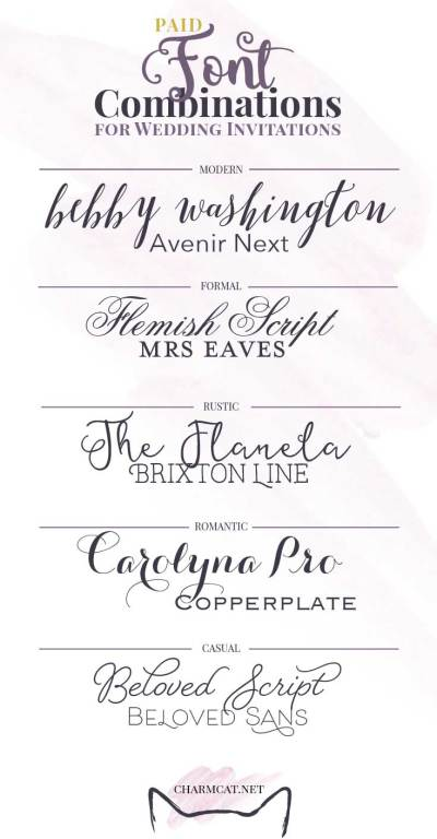 Great Font Combinations for Wedding Invitations | CharmCat ...