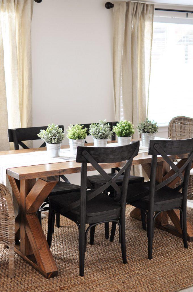 x brace farmhouse table free plans diy kitchen table plans Industrial Farmhouse X Base Dining Room Table