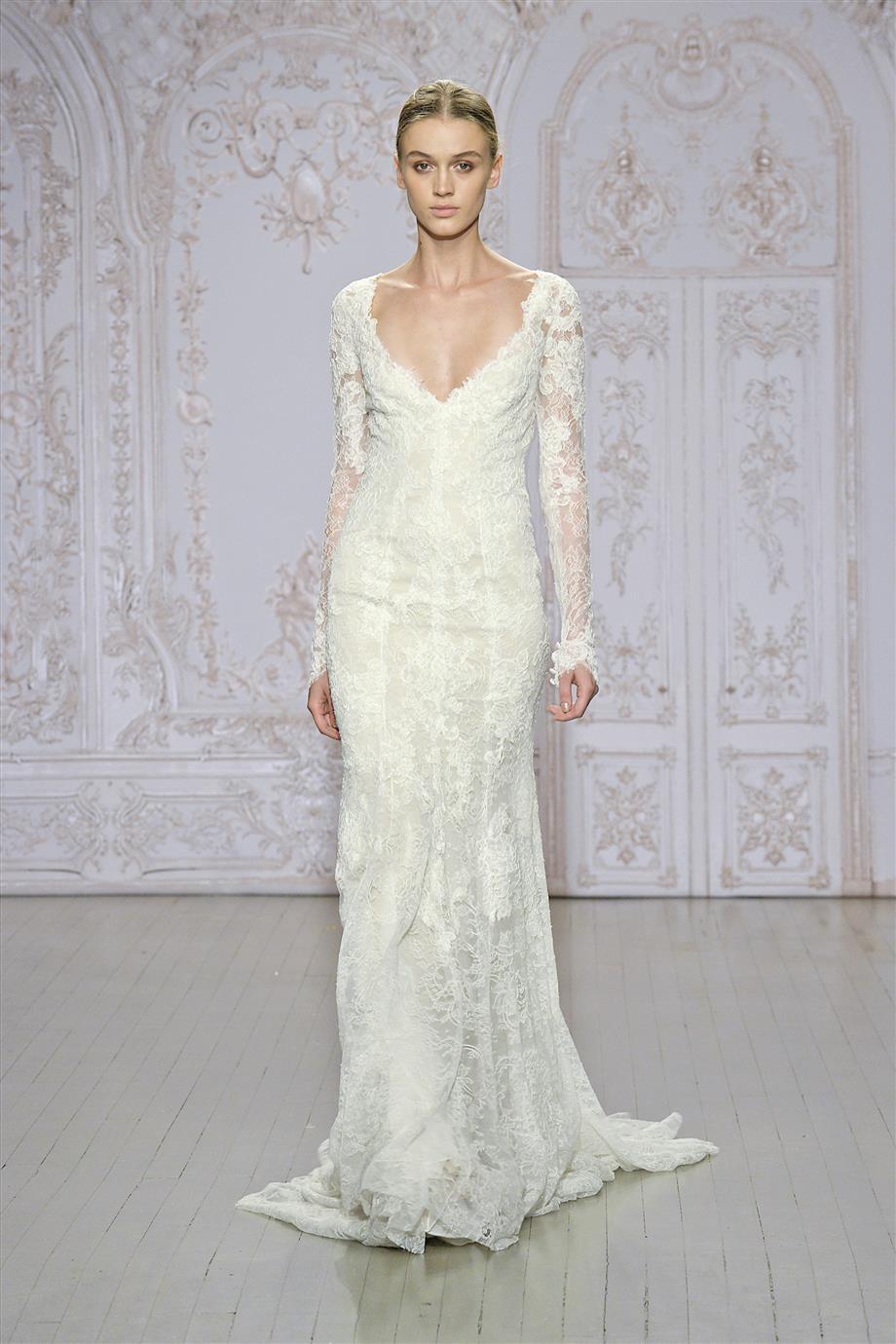 long sleeve wedding dresses sleeved wedding dress Monique Lhuillier Collection Long Sleeved Wedding Dress Autumn