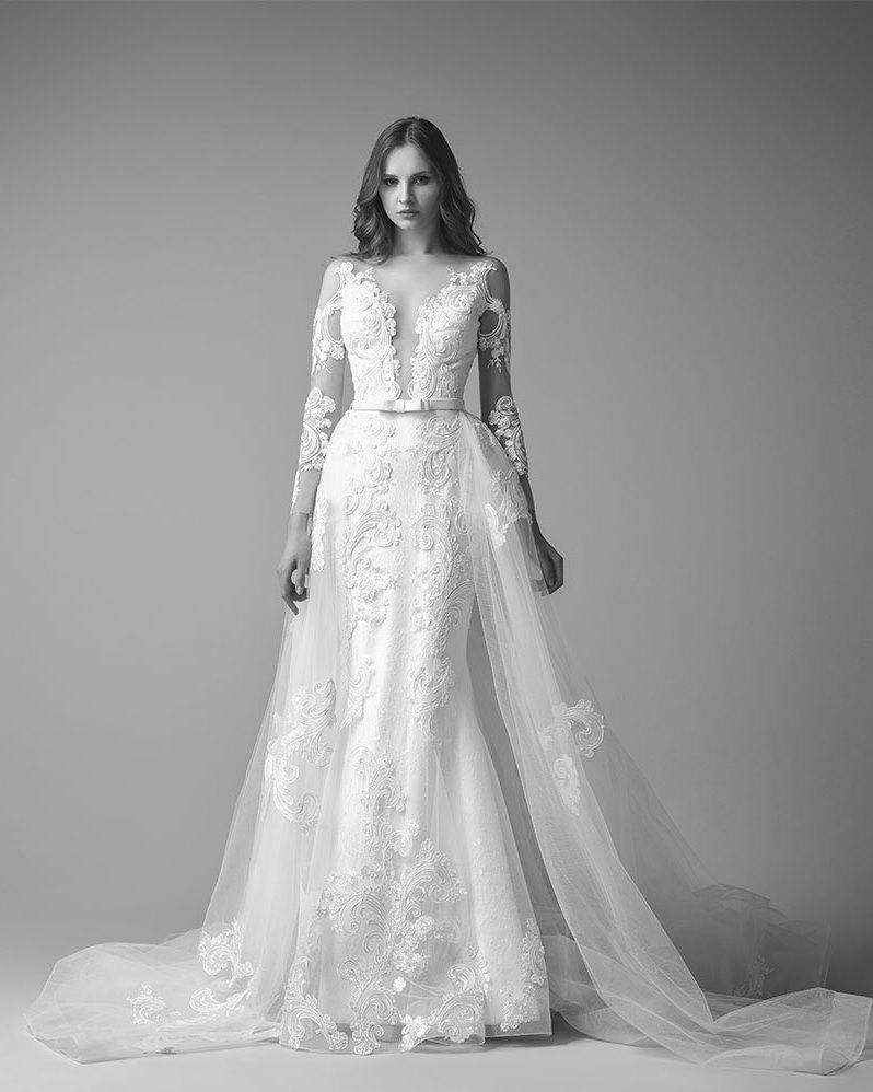 stunning bridal collection saiid kobeisy plunging neckline wedding dress Romantic Long Sleeve Lace Wedding Dress with Plunging Neckline from Saiid Kobeisy s Collection