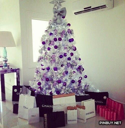 Top Purple Christmas Trees Decorations   Christmas Celebration   All     You can simply decorate your white Christmas tree with solid colored  Christmas balls  Add some purple and silver ribbons