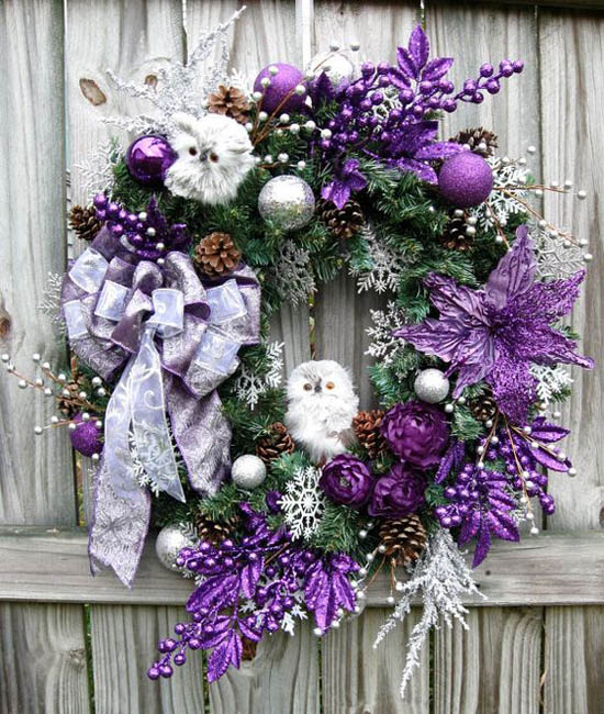 35 Breathtaking Purple Christmas Decorations Ideas   All About Christmas Purple and Silver Baby Owls Christmas Wreath  purple christmas decorations  34