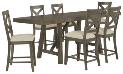 fs omaha gray rectangular table kitchen table omaha Omaha Gray High Table 4 Wood Barstools