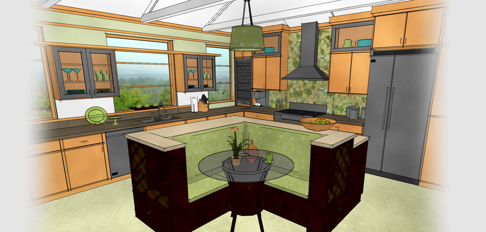 kitchen bath kitchen and bath design Technical drawing of a kitchen generated by Home Designer