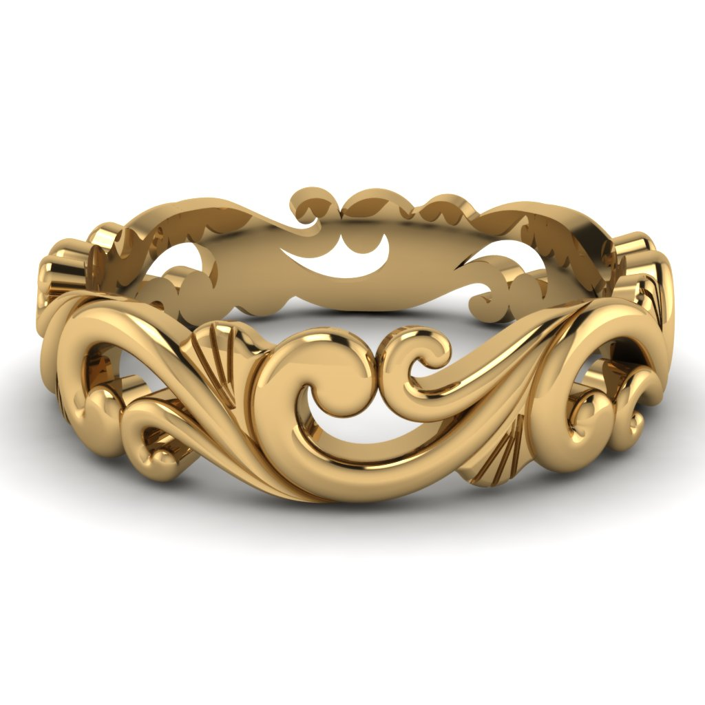 our best unique mens wedding bands collection mens unique wedding rings Yellow Gold Filigree Mens Wedding Band