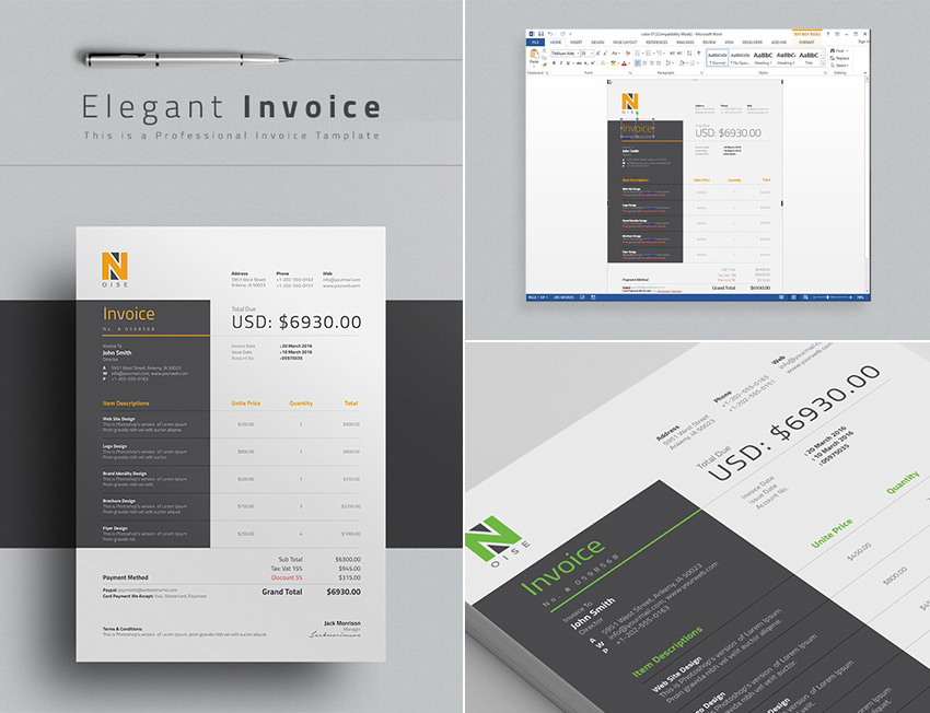 15 Simple Invoice Templates  Made For Microsoft Word Elegant Word Invoice Template Design