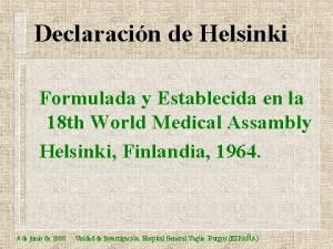 Declaración de Helsinki   Comisión Estatal de Bioética de Michoacán