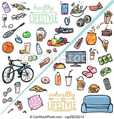 Healthy lifestyle vs unhealthy lifestyle. hand drawn ...
