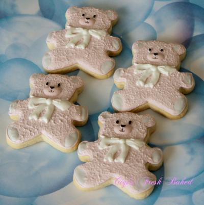 Pink teddy bear cookies | Cookie Connection