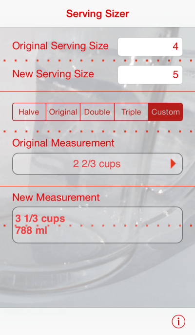 Serving Sizer, iPhone cooking software - scale recipes in a snap
