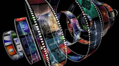 Loop-able animation of rotating film reels ~ Clip #12724557