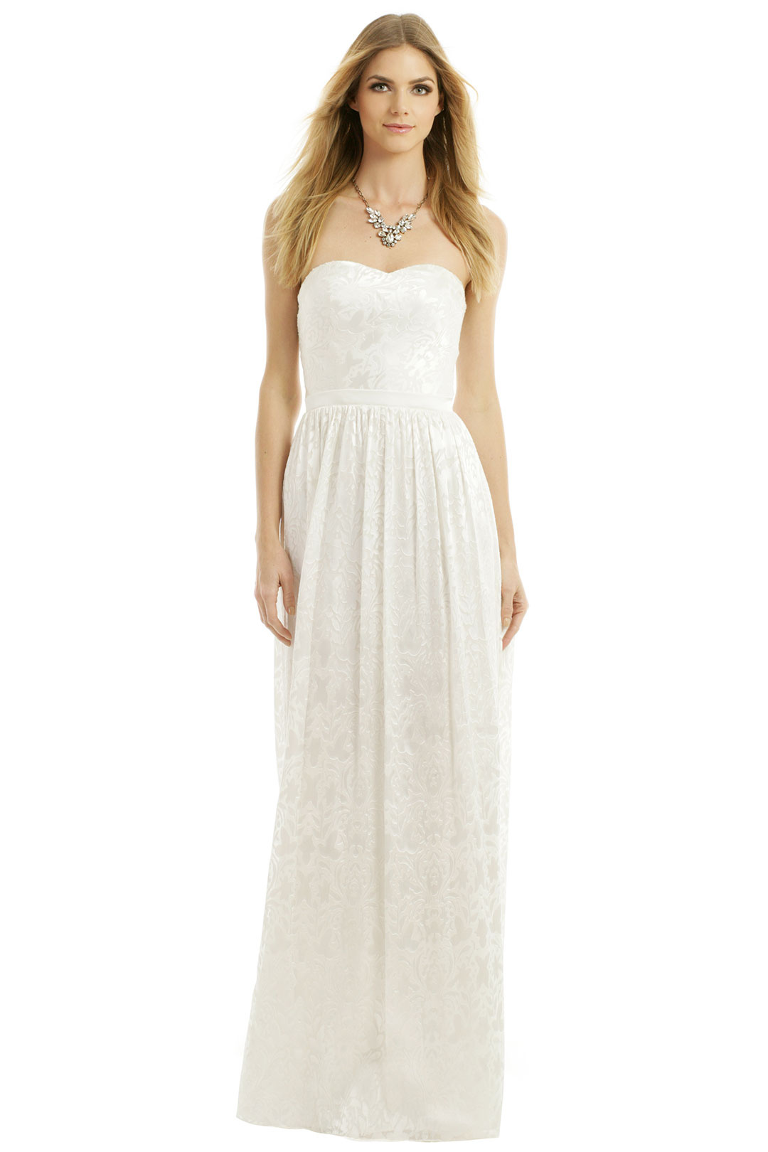 rentable designer dresses for summer weddings rental wedding dresses Strapless and flowy with a shimmering silk pattern overlay this dress is lightweight enough to keep you cool in the hot sun and is according to reviews