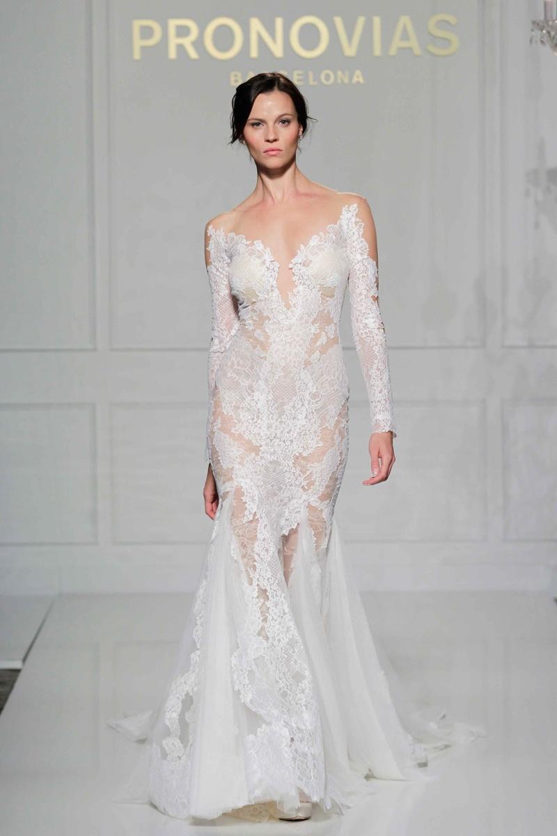 sheer lace wedding dress Pronovias long sleeve sheer lace mermaid wedding dress