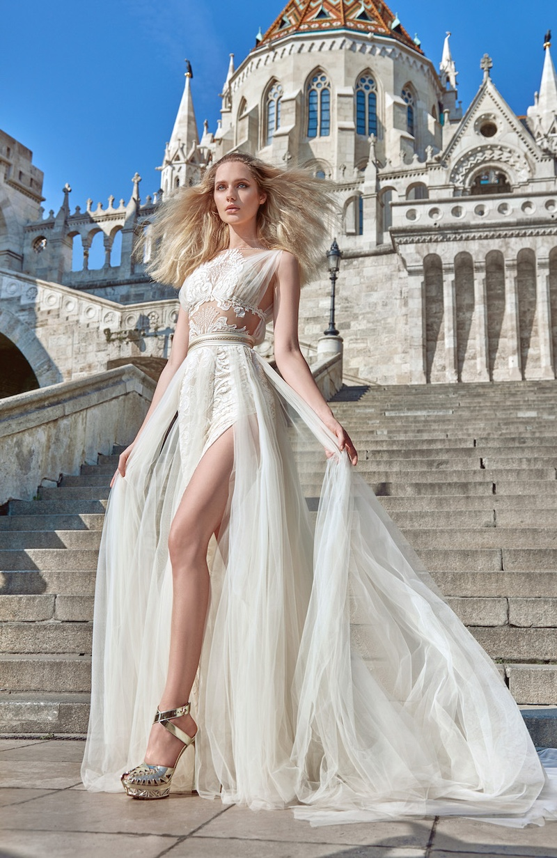 grecian wedding dress Galia Lahav Fall Grecian wedding dress with illusion details and slit