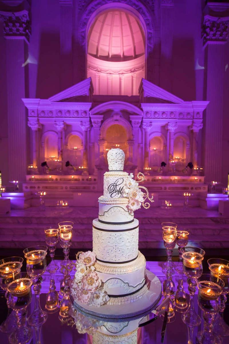 purple and gold wedding Tall black white and gold wedding cake at Vibiana with monogram