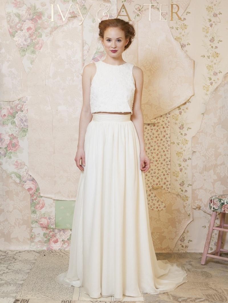 wedding dress skirt Tank crop top with sheath floor length skirt Ivy and Aster
