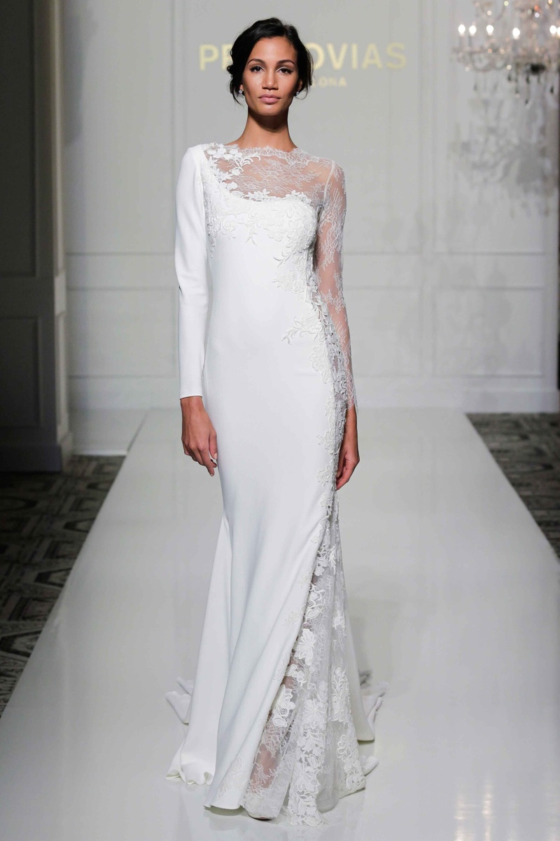 contemporary wedding dresses Pronovias asymmetrical long sleeve wedding dress with sheer lace neckline and sleeve