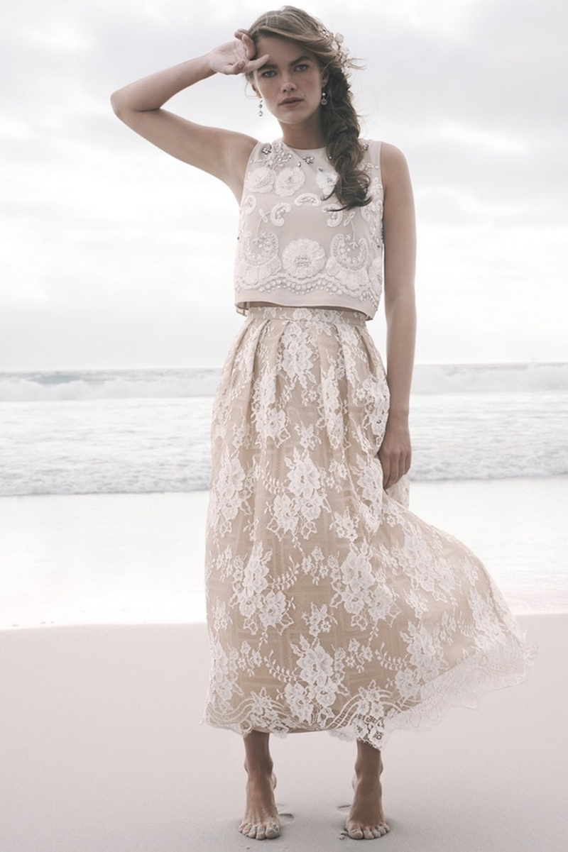 lace top wedding dress BHLDN lace champagne skirt and matching embroidered crop top