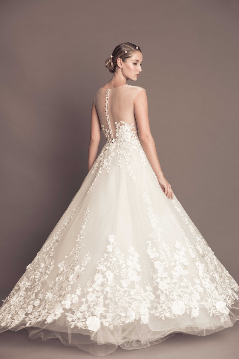 gorgeous wedding dresses Illusion tulle back wedding dress with ball gown skirt Francesca Miranda fall collection