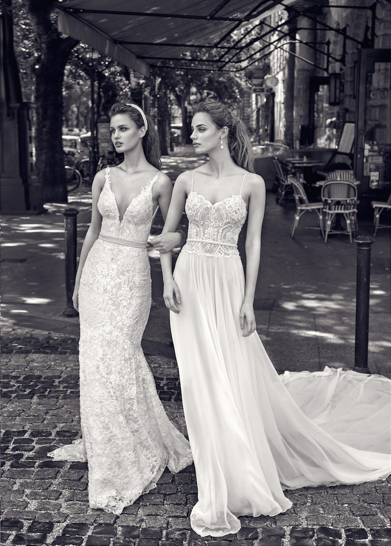 galia lahav wedding dresses B W photo of Gala by Galia Lahav plunging v neck wedding dress and spaghetti