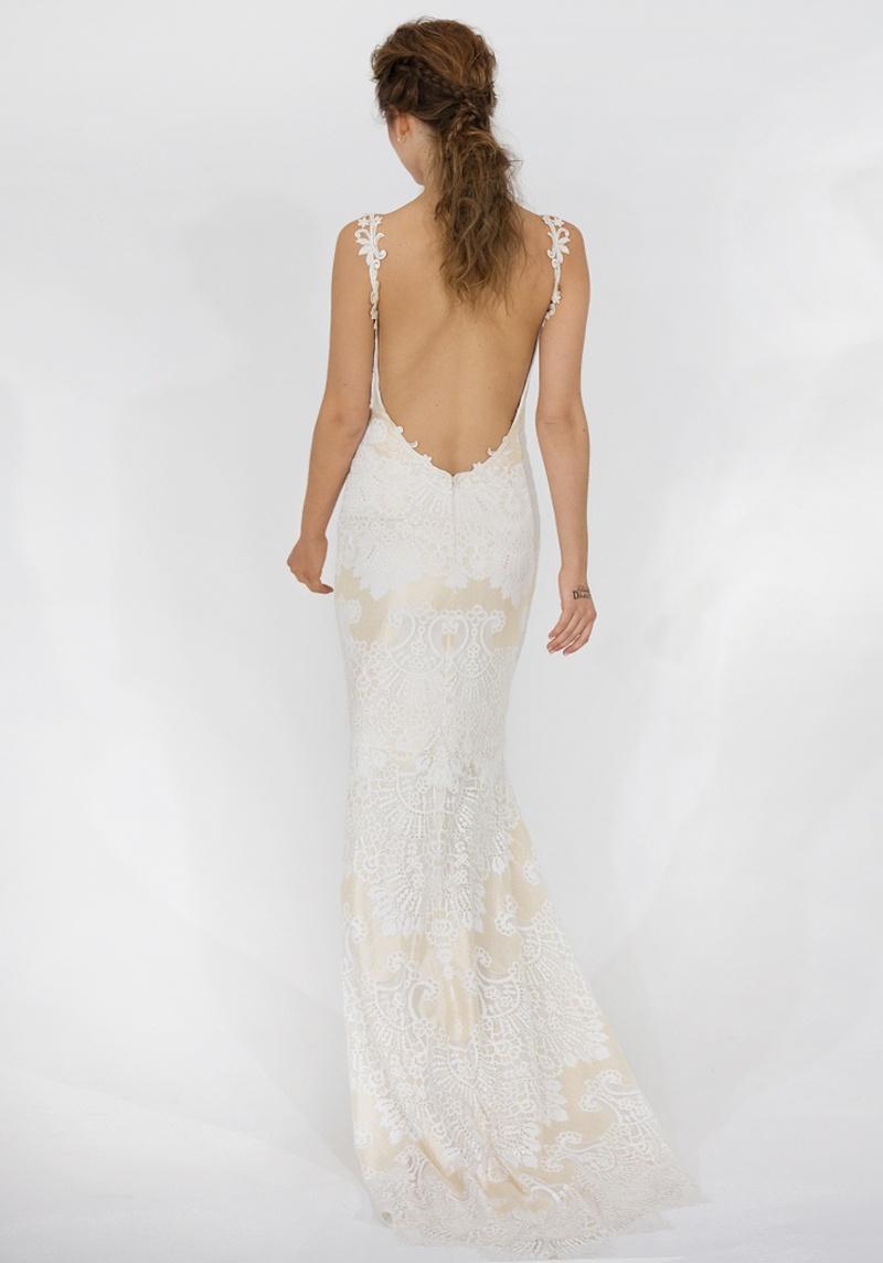 low back wedding dresses Low back spaghetti strap wedding dress Claire Pettibone