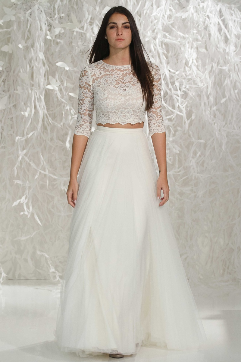 lace top wedding dress Willowby by Watters two piece a line wedding dress skirt with 3