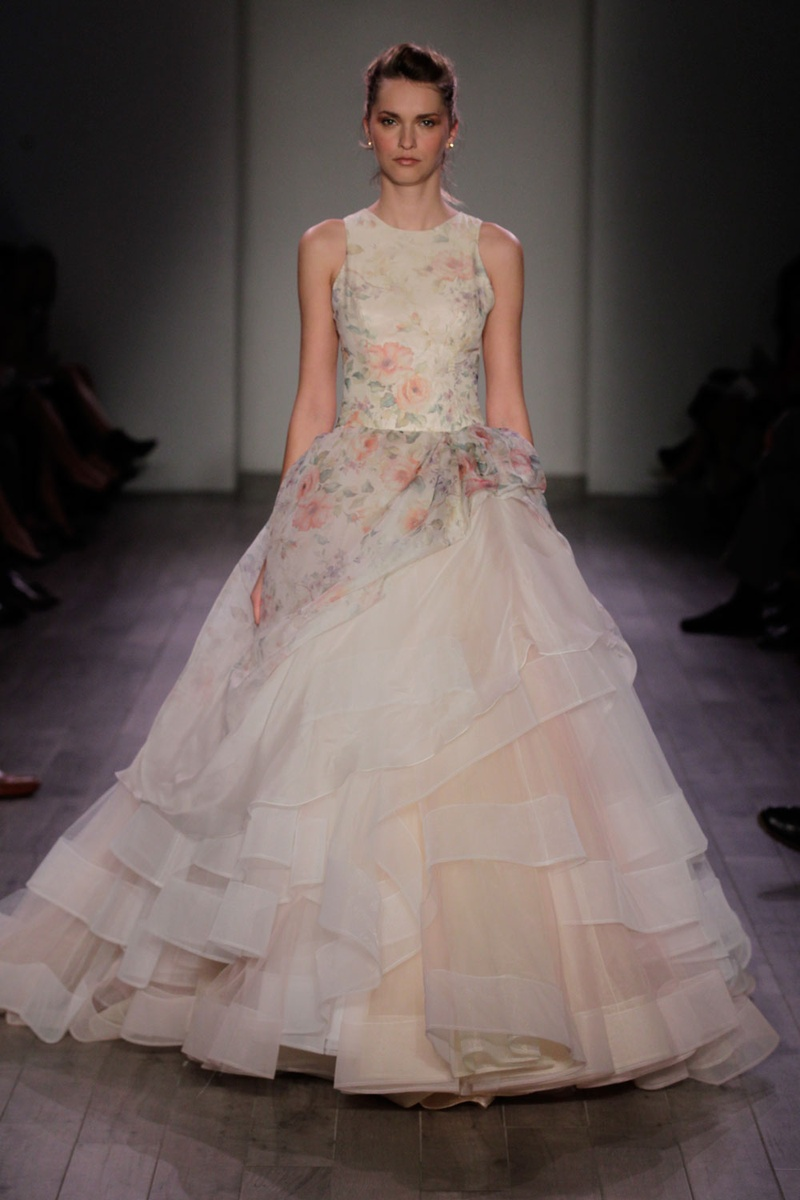 high neck wedding dress Lazaro Spring flower print high neck wedding dress with layered ball gown skirt