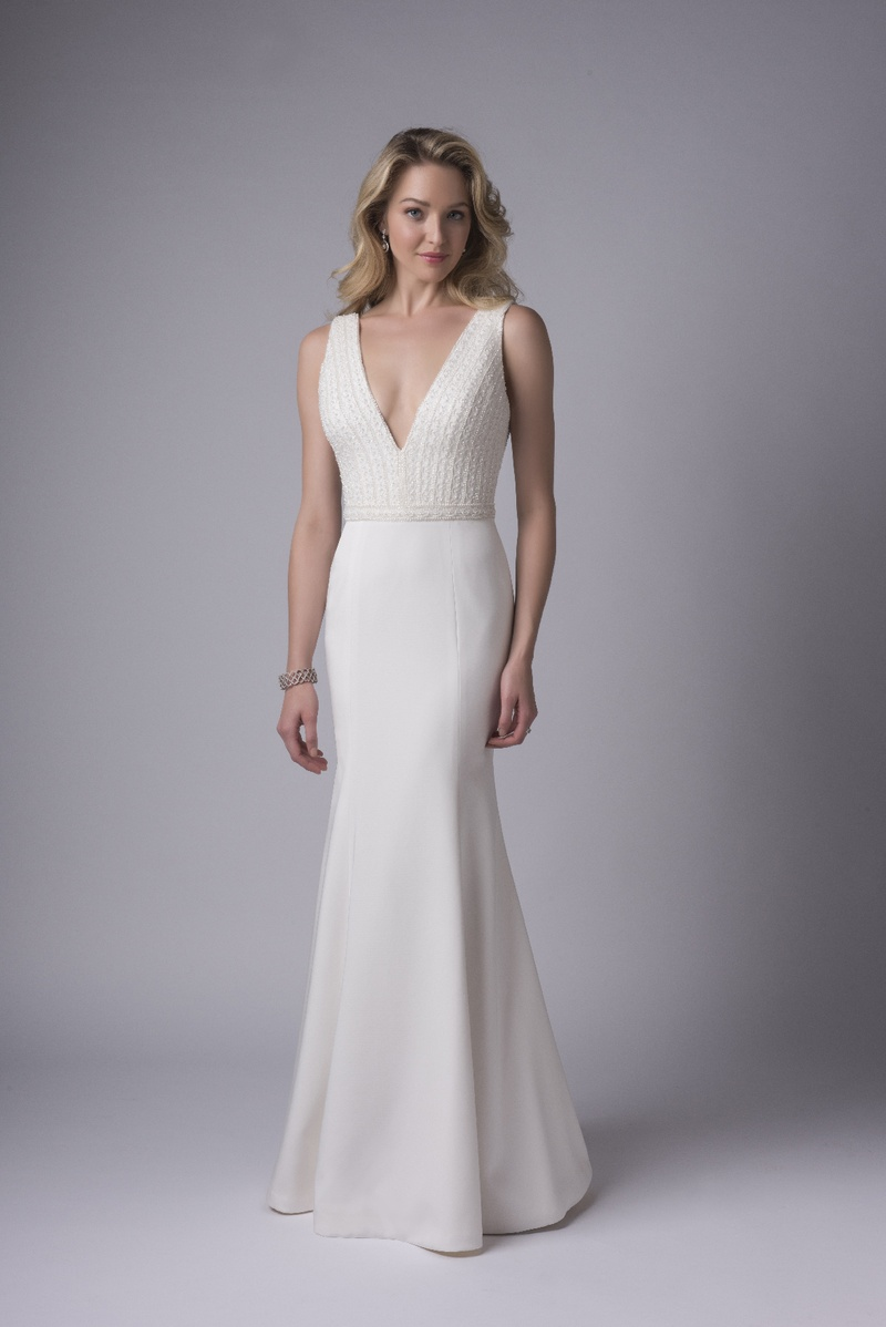 contemporary wedding dresses Modern Trousseau fall Adora deep V neck gown pearl beaded bodice Italian crepe fit