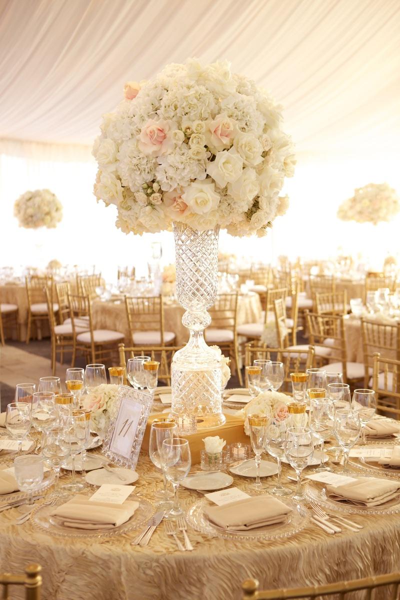 elegant crystal centerpiece wedding centerpiece Waterford crystal wedding centerpiece with white rose and hydrangea