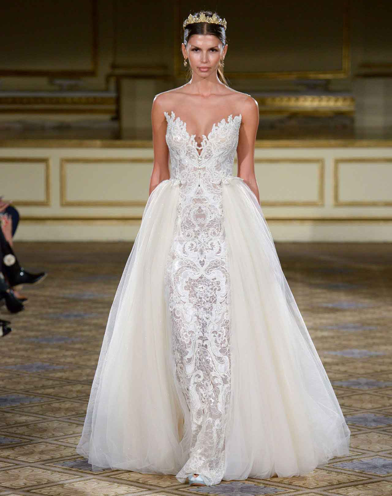 gorgeous wedding dresses berta gown with tulle overskirt