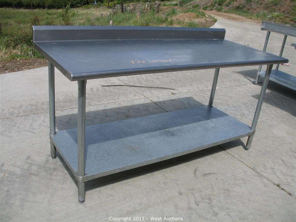 stainless steel commercial work prep table with back splash 6 long kitchen prep tables Pizza Restaurant Equipment and Furniture in Loomis CA