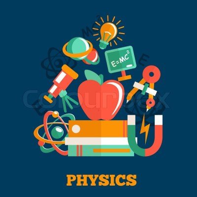 Physics science flat design poster ... | Stock Vector | Colourbox