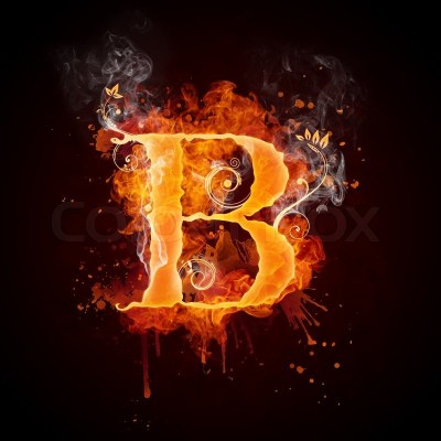 Fire Swirl Letter B Isolated on Black ... | Stock Photo | Colourbox