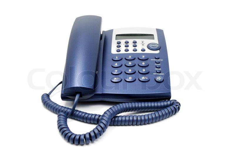 Modern blue business office telephone isolated on a white background     Modern blue business office telephone isolated on a white background    Stock Photo   Colourbox