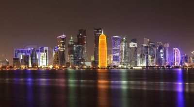 Skyline of Doha at night, Qatar | Stock Photo | Colourbox