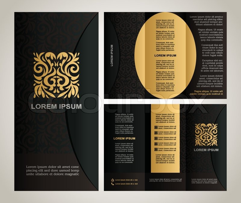 Vintage style brochure template design with modern art elements and     Vintage style brochure template design with modern art elements and  ornament  pages layouts in color  classic black  yellow  brown colors and  creative
