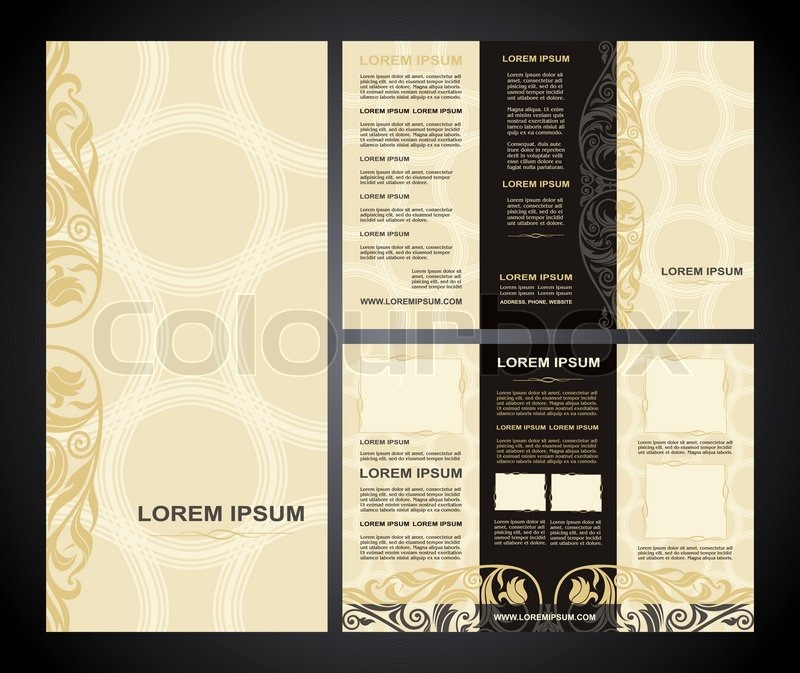Vintage style brochure template design with modern art elements and     Vintage style brochure template design with modern art elements and  ornament  pages layouts in color  classic colors and creative solutions for  design and