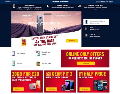Carphone Warehouse Discount Codes, Sales, Cashback Offers & Deals - TopCashback