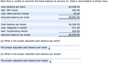 Solved: Sally Rice Is Unable To Reconcile The Bank Balance...   Chegg.com