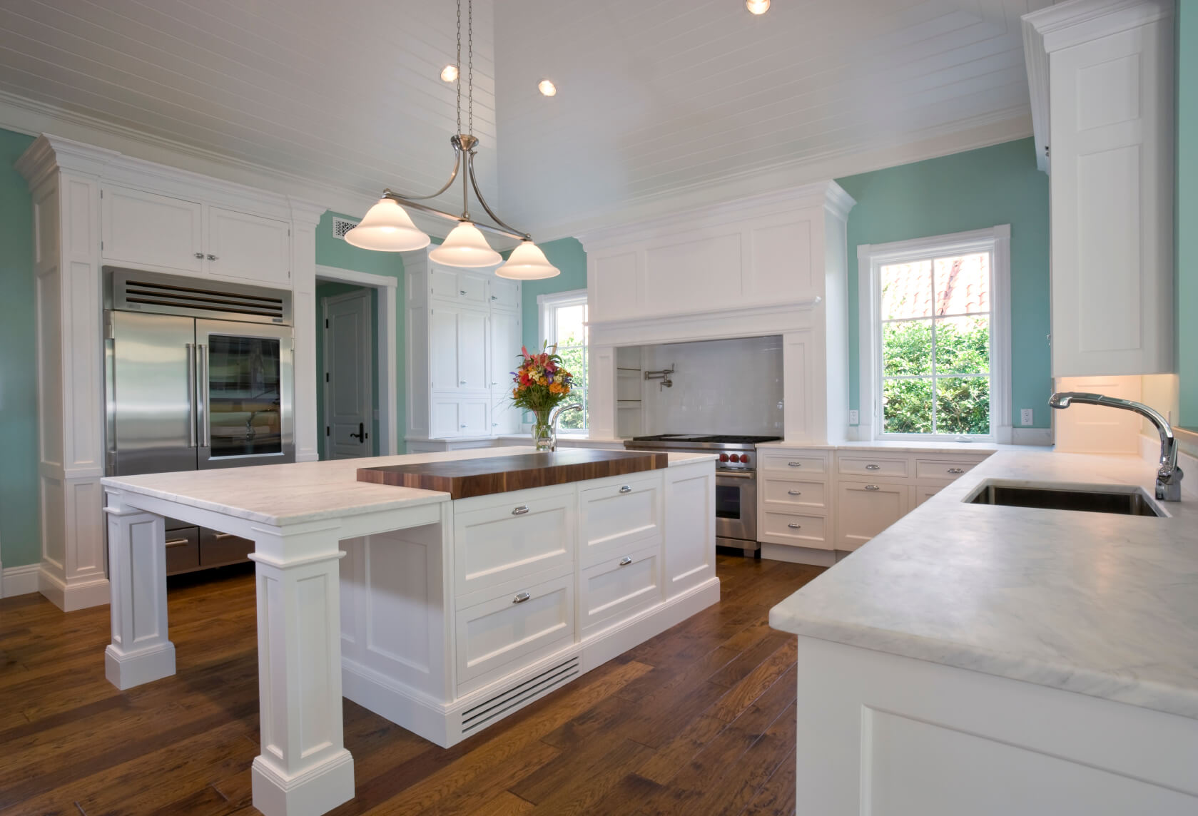 white kitchen designs pictures white kitchen countertops Light mint blue paint adds burst of color to this all white kitchen over natural
