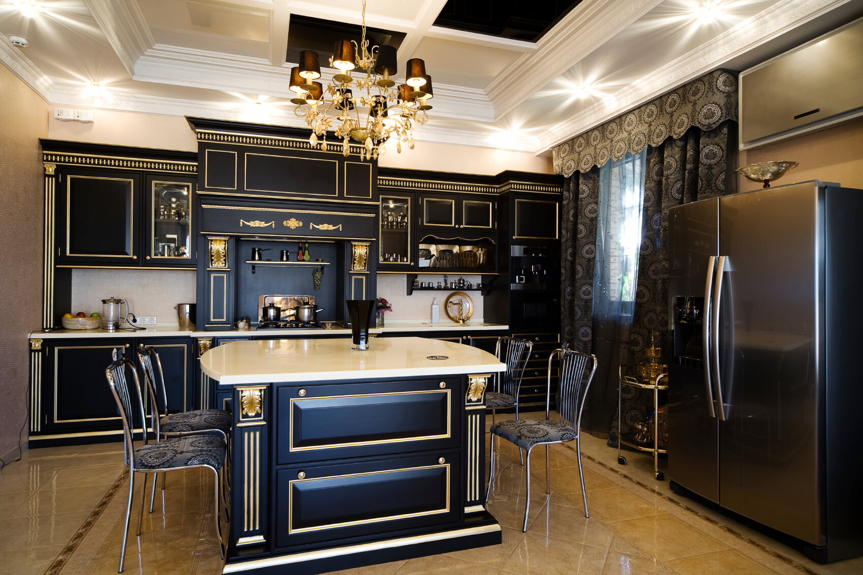 dark kitchen cabinets black kitchen cabinets Ultra luxurious kitchen features gilded black wood cabinetry over beige marble flooring White marble countertops