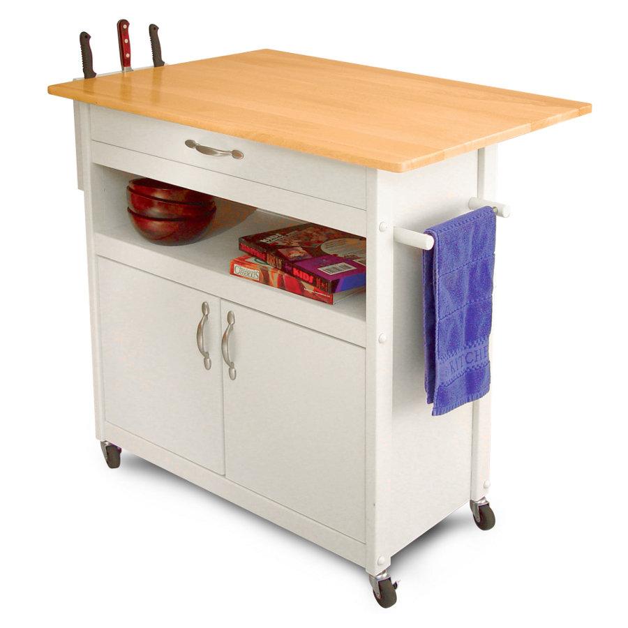 kitchen island cart kitchen utility table Catskill Drop Leaf Utility Cart White Base Side Knife Rack 34