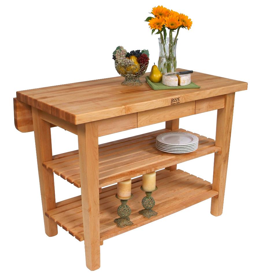 stationary kitchen island butcher block kitchen table John Boos Kitchen Island Bar w Drop Leaf