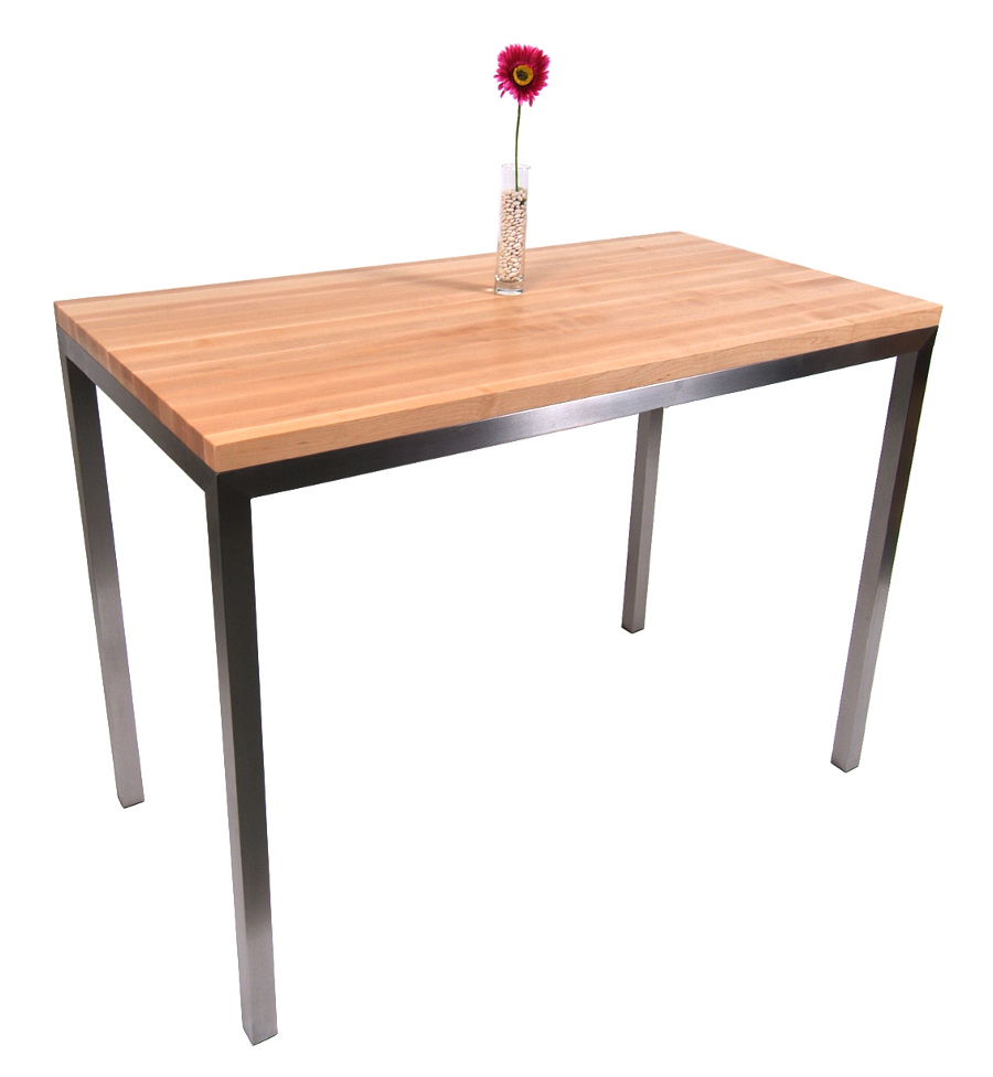 butcher block table kitchen table bakers Boos Maple Stainless Steel Metropolitan Center Table 48