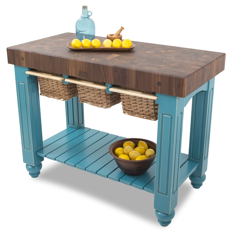 boos gathering block iii 48x24 walnut butcher block table 3 wicker basket drawers 56ba64243b135