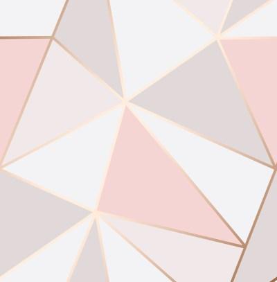 Rose Gold Pink Geometric Wallpaper 3D Apex Triangle Modern Metallic Fine Decor 5011419419937 | eBay