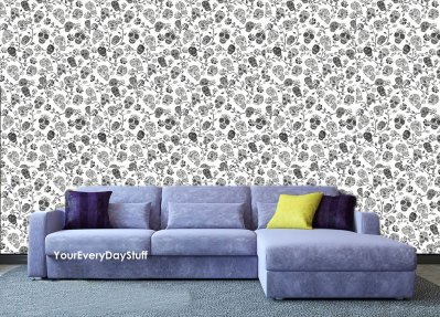 Skull Wallpaper Gothic Dark Black Silver Goth Cool Black Feature Wall 10 Styles | eBay