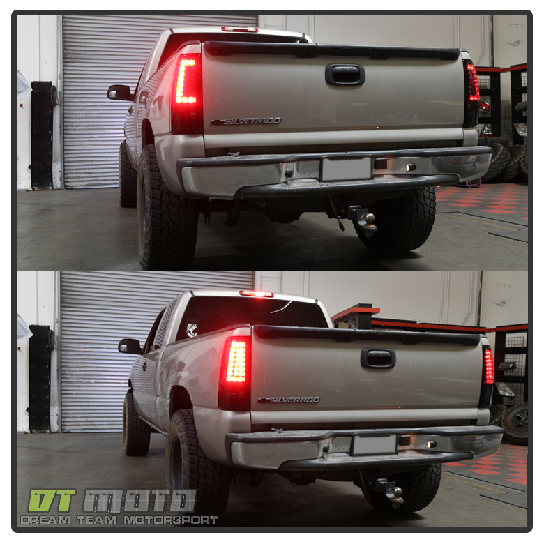 99 02 Silverado 99 06 Sierra Red Smoked  C Shape  LED Tail Lights     2007 2007  GMC Sierra Classic