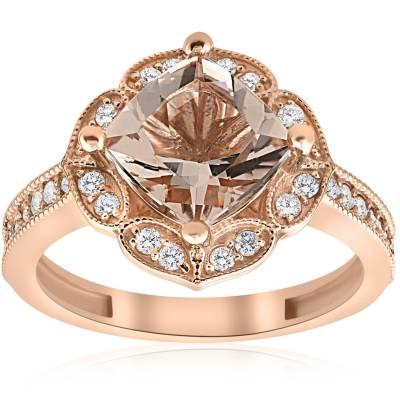 2 1/3ct Cushion Morganite Vintage Diamond Halo Engagement ...