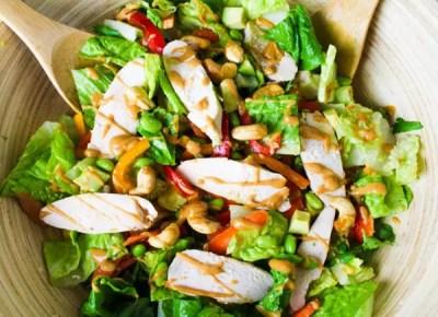 Thai Chicken Salad with Spicy Peanut Sauce - Tastefulventure